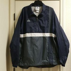 Adidas windbreaker jacket blue grey white w logo